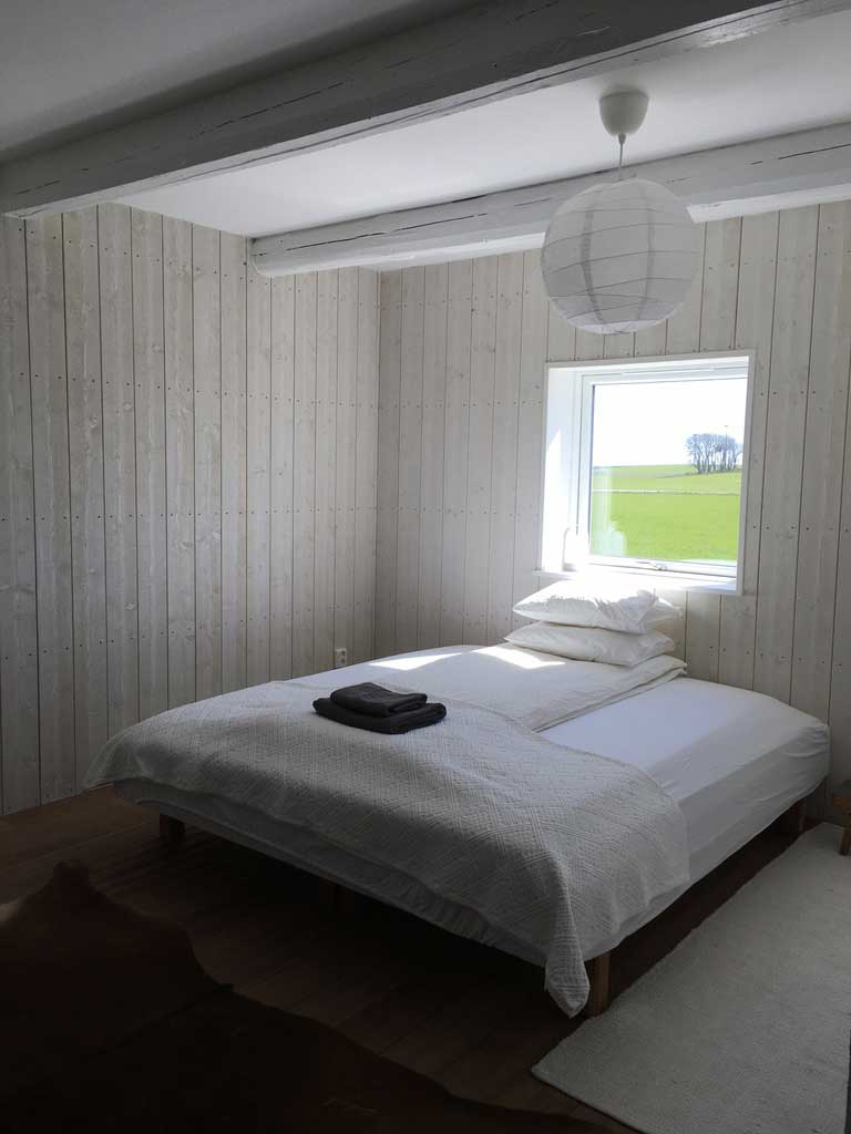 The Cowshed, bedroom 2, Red Bird Farm in Sweden